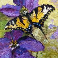 Butterflies on Purple Flower Oil Painting