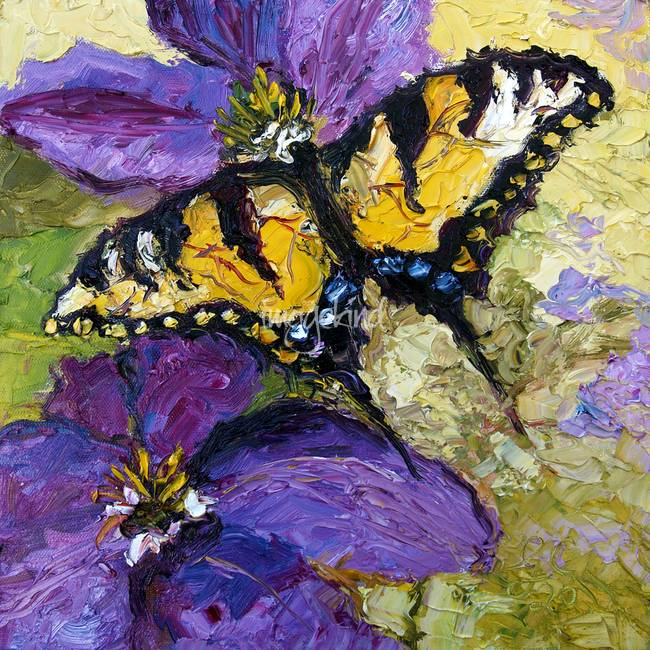 Swallow Tail on Purple Flower Oil Painting