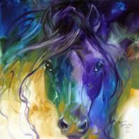 ABSTRACT BLUE ROAN by Marcia Baldwin