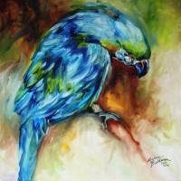 AZURE BLUE PARROT ABSTRACT by Marcia Baldwin