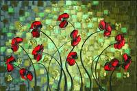 red poppies abstract lanscape