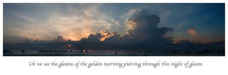 scripture oh we see the gleams of the golden morni