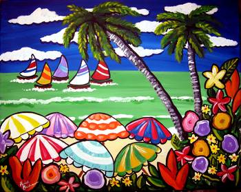 Beach Umbrellas by artist Renie Britenbucher. Giclee prints, art prints, posters, a seascape, sailboats, flowers, palm trees; from an original  painting