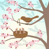 Bird family in a cherry tree