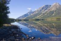 Tetons reflected in Leigh Lake