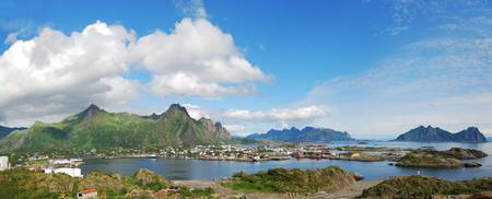 Panorama of Lofoten islands with small town