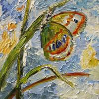 Butterfly on Grass New Impressionist Oil Painting by Ginette Callaway
