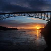 """Sunset under Deception Pass Bridge"" by CaptureLife"