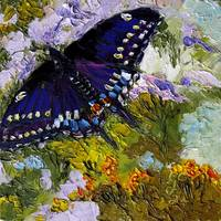 Black Swallowtail Butterfly Oil Painting by Ginett by Ginette Callaway
