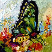 Tropical Butterfly Oil Painting by Ginette by Ginette Callaway