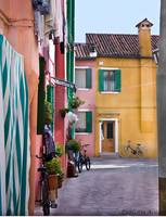 Burano Courtyard With Bicycles