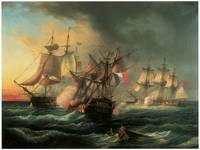 Naval Combat between Ships by Leopold Le Guen