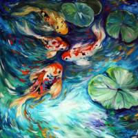 """DANCING COLORS KOI"" by MBaldwinFineArt2006"