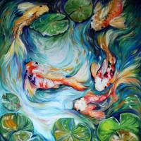 DANCING COLORS KOI II by Marcia Baldwin