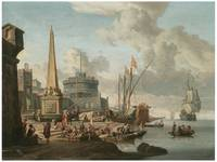 Fortified Mediterranean Port by Abraham Storck