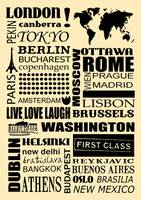 World capitals retro poster