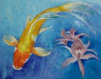 Butterfly Koi with Orchids