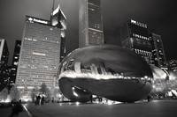 Cloud Gate Chicago Night (Black & White)