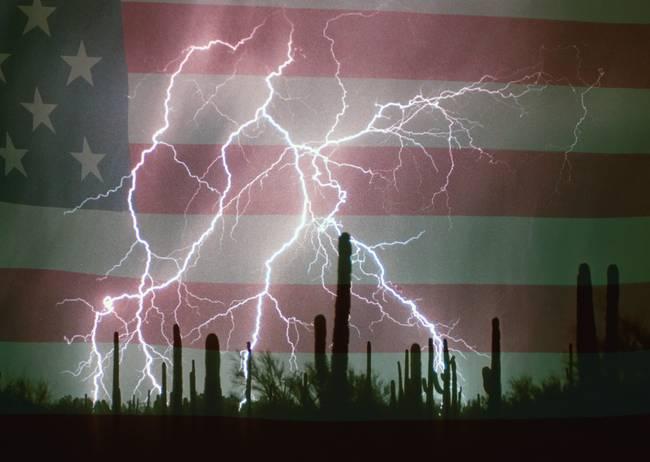 Lightning Storm in the USA Desert Flag Background