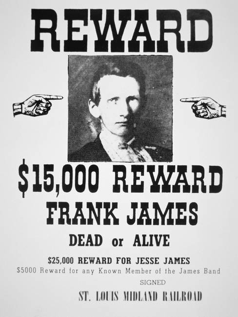 reward poster for frank james 1843 1915 litho by the fine art