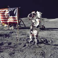 Eugene A. Cernan Salutes Flag on the Moon