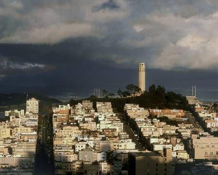 Coit Tower during passing storm