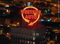 Western Auto sign at night, 3 Sept 2010