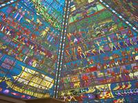 Stained glass pyramid roof.