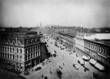 Market Street East from Sansome, c. 1890