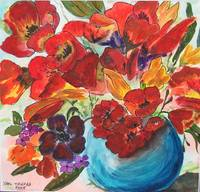 Tulips in Blue Vase - SOLD TO PAT LOPEZ