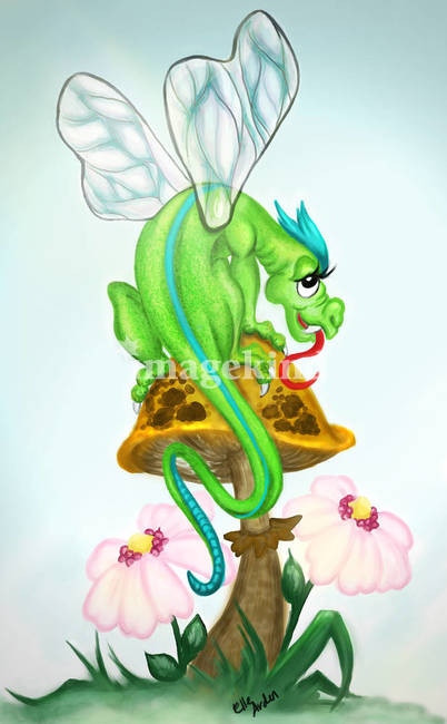Fairy Dragon on Toadstool