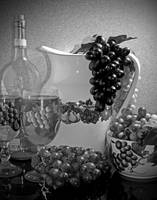 Pottery, Wine & Grapes B & W