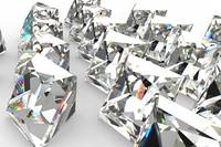 Array of Princess Cut White Diamonds - 3D