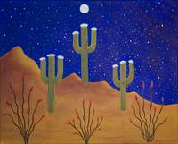 3-Saguaros in the Moonlight