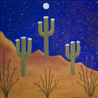 """3-Saguaros in the Moonlight"" by visionaryartoflisathiel"