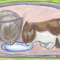 Cats Eating Art Prints & Posters by Wanda Edwards