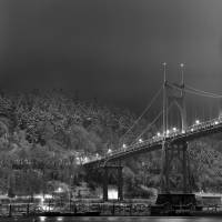 """St Johns Bridge, snowy night"" by zebandrews"