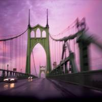 """St Johns Bridge, sunset driving"" by zebandrews"