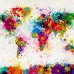 """World Map Paint Drops"" by ModernArtPrints"