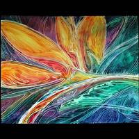 BIRD of PARADISE ABSTRACT in BATIK by Marcia Baldwin