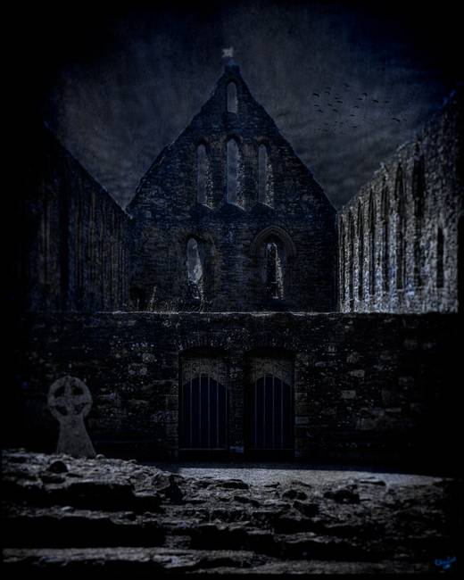 The Ruins at Battle Abbey at Midnight