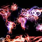 """""""World Map Light Writing"""" by ModernArtPrints"""