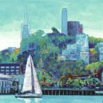 Sailing Pioneer Park and Coit Tower San Francisco by RD Riccoboni