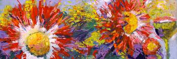 Impressionist Flower oil paintings Asters Red