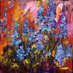 Bluebells Impressionist Flower Oil Painting by GIn