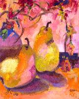 Pears In Pink Modern Decorative Art