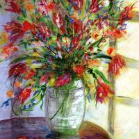 """Flowers In Glass Vase by Window"" by GinetteCallaway"