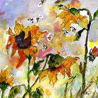 Sunflowers Bees Watercolor and Ink by Ginette