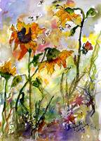 Sunflowers and Bees Watercolor and Ink by Ginette