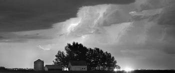 County Line Lightning Storm BW Pano